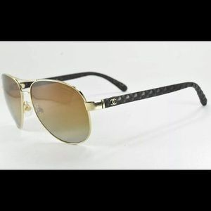 Chanel 4204 395/S9 Gold Brown Polarized Sunglasses